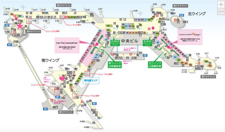 成田空港 ANAラウンジの場所